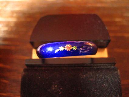 bezaubernder Vintage Ring Freundschaftsring Emaille bemalt 925er Silber RG 57