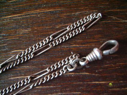 überlange Jugendstil Schieberkette Damen Uhrenkette 142 cm Schieber 800er silber - Vorschau 3
