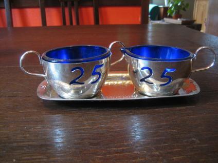 witziges Milch und Zucker Set Milchkännchen + Zuckerdose silber pl blaues Glas