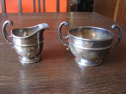 originelles Art Deco Milch & Zucker Set Milchkännchen Zuckertopf silber pl England