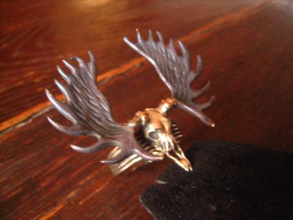 geiler Ring Moose Skull Elch Skelett Schädel neu et Nox Gothic Deluxe RG 62 - Vorschau 3