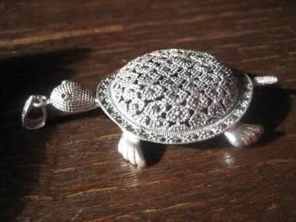 riesiger Schildkröten Anhänger Schildkröte 925er Silber Markasit Glücksbringer