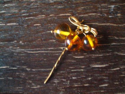 elegante antike Krawattennadel Stickpin Hutfeder baltischer Benstein gold