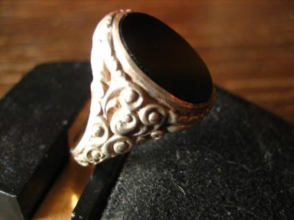 stilvoller Art Deco Herrenring Siegelring 835er Silber Onyx Ring 19 mm RG 60 - Vorschau 2
