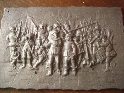 dekorative Gusseisenplatte Ofenplatte Gusseisen Kunstguss Musketiere Soldaten - Vorschau 3