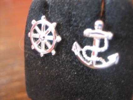 witzige maritime Ohrringe Stecker Ohrstecker 925er Silber neu Anker Steuerrad - Vorschau 2