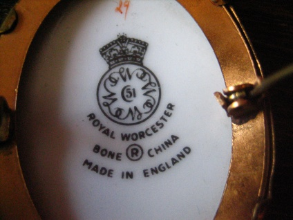 vintage Miniaturmalerei Porzellanmalerei Rosen Brosche Royal Worcester England - Vorschau 3