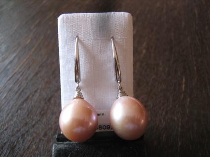 exquisite Designer Ohrringe Hänger 925er Silber Perlen rosé rosa AAAA 13 - 15 mm