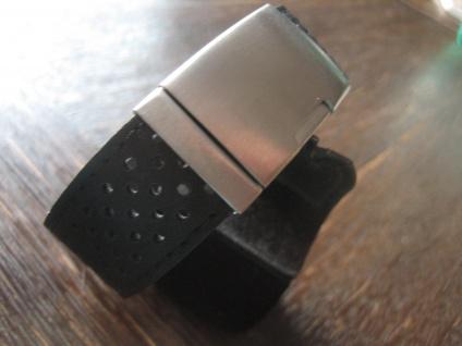 Herrenarmband Armband Leder schwarz Edelstahl gebürstet Lochmuster 2 x 22 cm NEU