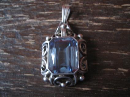 atemberaubender Art Deco Anhänger riesiger aquamarin Stein 835er Silber Handmade