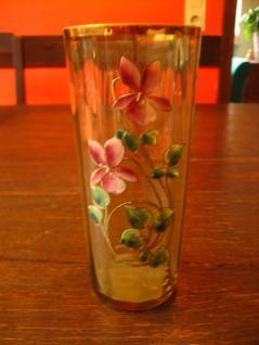 wunderschönes Jugendstil Glas Trinkglas Emaillemalerei Veilchen Emaille gemalt