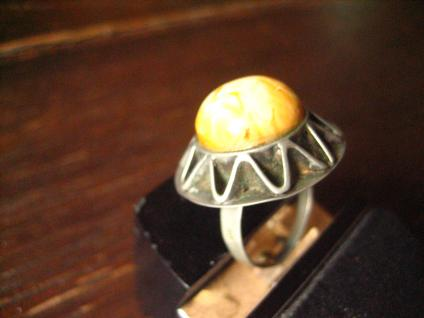 origineller Art Deco Bernstein Ring Butterscotch Amber ausgefallen Handarbeit 54