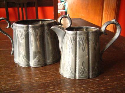 herrliches antikes Milch & Zucker Set Milchkännchen Zuckertopf silber pl England