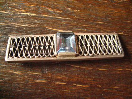 tolle Art Deco Brosche Krawattennadel aquamarin Stein 835er Silber Handarbeit - Vorschau 2