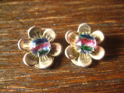 super niedliche antike Blüten Ohrringe Clips mit Rheinkiesel 800er Silber Unikat
