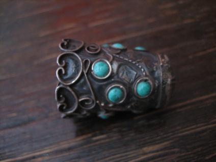 super schöner Fingerhut 925er Silber Türkis Besatz aufwändige Handarbeit Mexiko - Vorschau 3