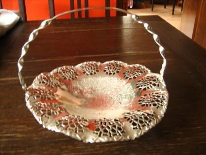 dekorative Silberschale Schale mit Henkel reich verziert silber pl England - Vorschau 1