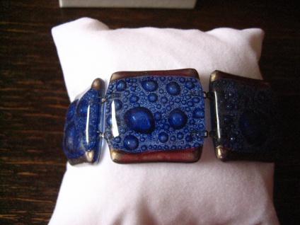 elegantes Armband blau silber 2, 7 cm NEU Kunsthandwerk Arts & Crafts Boho Unikat