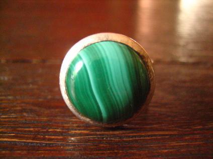 prächtiger Vintage Designer Ring Malachit strahlend grün 925er Silber RG 58