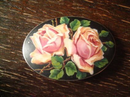 prächtige Jugendstil Brosche Matt - Emaille Rosen Rose Emailmalerei 935er Silber
