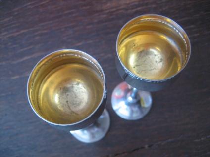 Candellight Dinner for two 2 Stück bezaubernde Sherrygläser Likörgläser silber - Vorschau 4