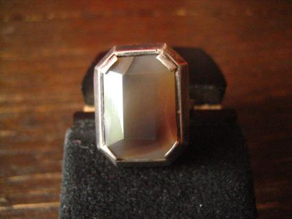 eleganter klassischer Art Deco Ring großer grauer Achat facettiert 835er Silber