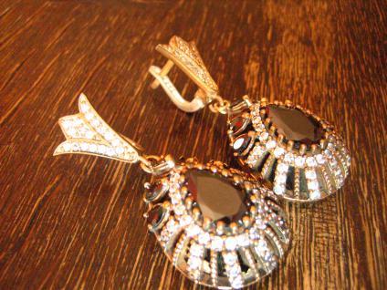 Kronjuwelen gesucht ? opulente Ohrringe Hänger 925er Silber Zirkonia brillant - Vorschau 2
