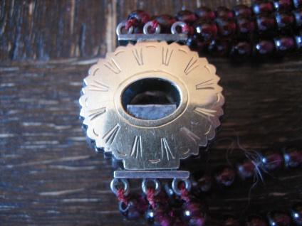 prunkvolles Biedermeier Granat Collier Silber Schmuckschließe Diamantrosen 3reihig - Vorschau 3