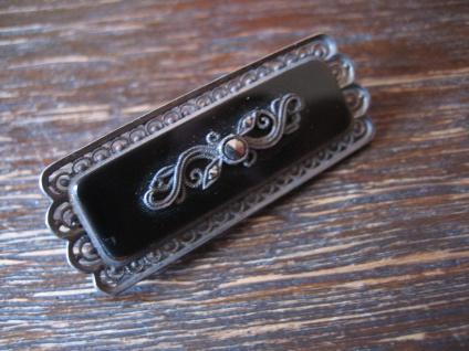 hochelegante Art Deco Brosche Nadel Onyx Markasit 835er Silber Meistermarke - Vorschau 3