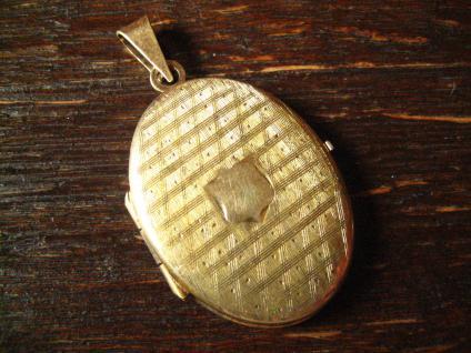 klassisches Jugendstil Medallion Anhänger mit Wappen verziert 835er Silber gold - Vorschau 1