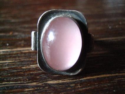 feiner eleganter Art Deco Ring rosa Rosenquarz 925er Silber RG 51 / 52 16, 25 mm
