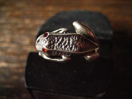 bezaubernder Froschring Frosch Kröte Unke Ring 925er Silber plastisch Krafttier - Vorschau 2