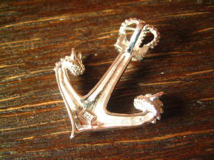 großer maritimer Anhänger Anker mit Krone Drachen Köpfe Pirat 925er Silber neu - Vorschau 4