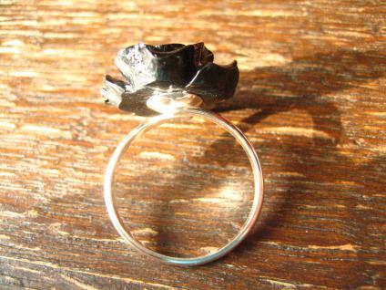 ausgefallener dekorativer Rosen Ring schwarze Rose 925er Silber et Nox all Size - Vorschau 2