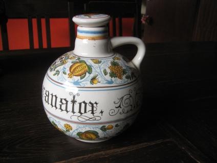 prächtige Majolika Flasche Krug Henkelkrug Weinkrug Ulmer Keramik Apothekengefäß