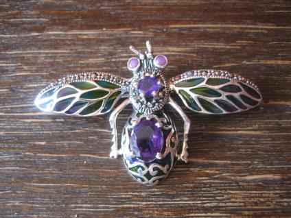 Insekten Brosche Anhänger Falter Motte Schmetterling 925er Silber bunt Emaille B