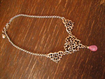 reizvolles Trachten Dirndl Collier im Antik Stil silber rosa Pampel an Erbskette - Vorschau 3