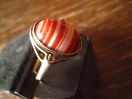 optisch reizvoller Art Deco Ring mit seltenem Streifenachat 925er Silber 19, 5 mm - Vorschau 2