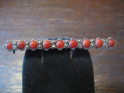 edle Art Deco Markasit Krawattennadel Brosche Nadel Rote Koralle 835er Silber