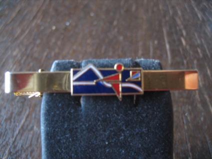 vintage Sport Krawattennadel Krawattenklemme Reiten Reiter Dressur Emaille gold