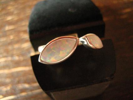 sehr edler moderner Designer Opal Ring 925er Silber Opalring 2 Opale RG 62