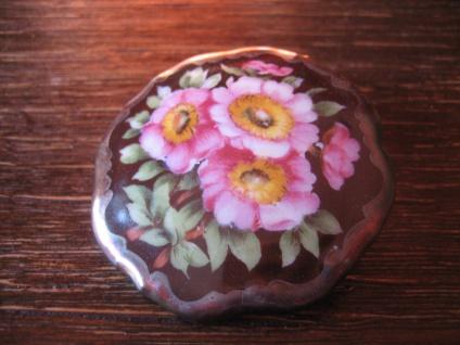 vintage Miniaturmalerei Porzellanmalerei Brosche üppige bunte Blüten Schumann C - Vorschau 2
