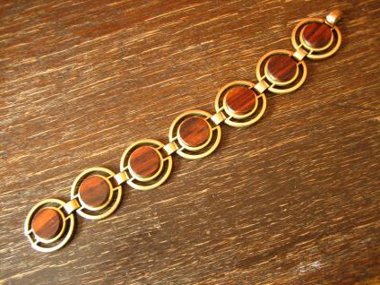 ausgefallenes Art Deco Vintage Designer gold Armband mit Holz Inlays - Vorschau 1