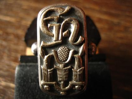 Prächtiger Jugendstil Unikat Monogramm Ring EN NE reine Handarbeit 800er Silber