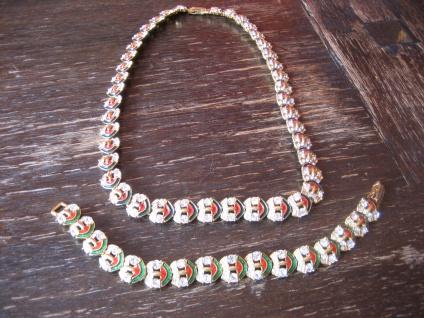 sehr edles Vintage Designer Emaille Strass Set Collier Kette Armband emailliert