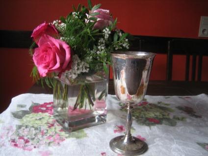 super schöner hoher Kelch Silberkelch Silberglas Weinkelch silber plated England