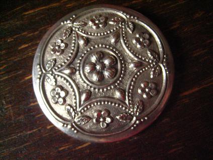 grosse antike Scheibenbrosche Brosche wunderschön floral getrieben 800er Silber
