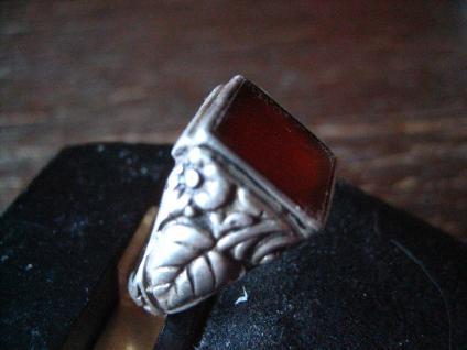 klassischer feiner Art Deco Ring Siegelring Carneol 835er Silber 17, 25 mm RG 55 - Vorschau 2