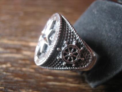 maritimer Herrenring Ring Kompass Anker Steuerrad 925er Silber neu et Nox RG 65 - Vorschau 3