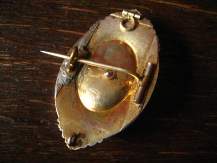 traumhafter überreich verzierter Biedermeier Anhänger Brosche gold Schaumgold - Vorschau 4